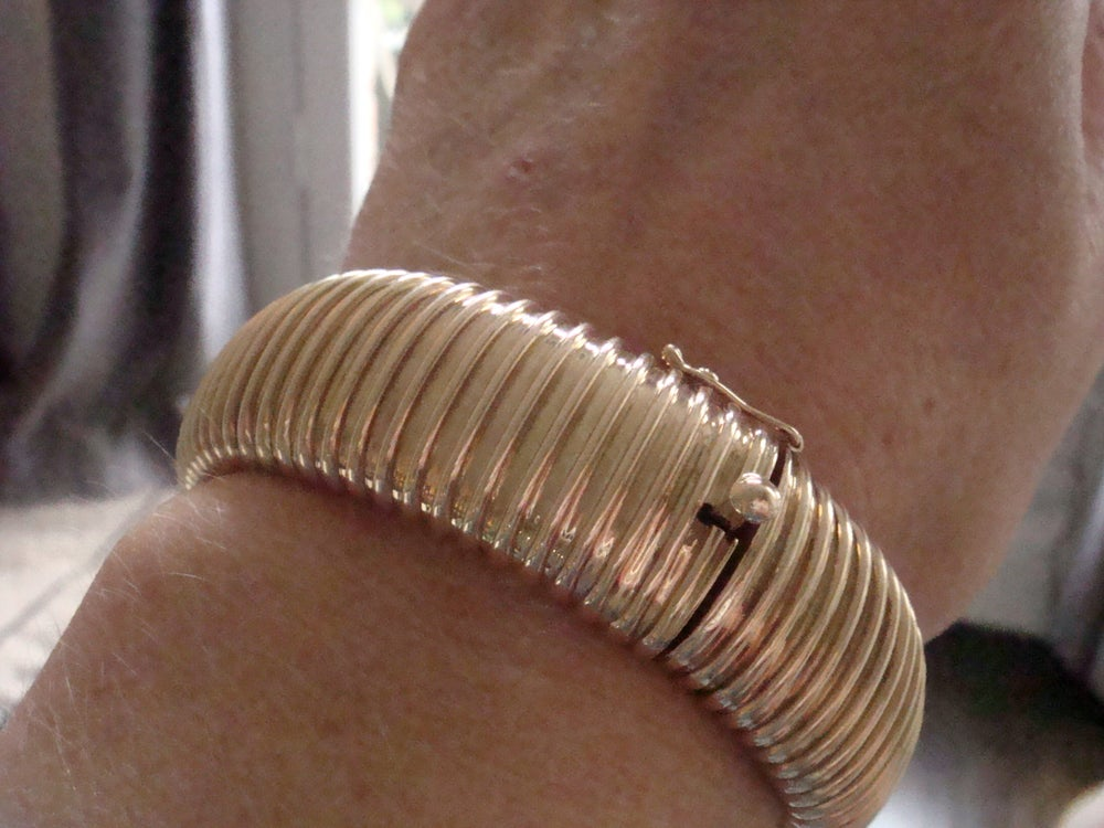 Image of Retro vintage french 1970s 14ct yellow gold bracelet 31.3g