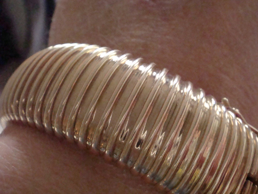 Image of Retro vintage french 1960s 14ct yellow gold bracelet 31.3g