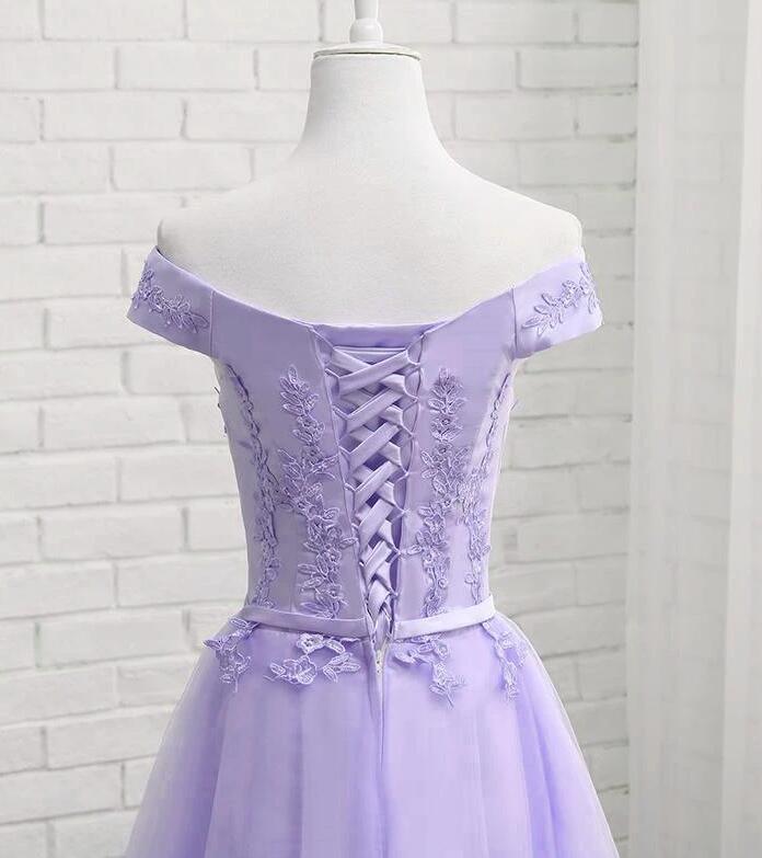 Adorable Lavender Off Shoulder Graduation Dress, Homecoming Dress