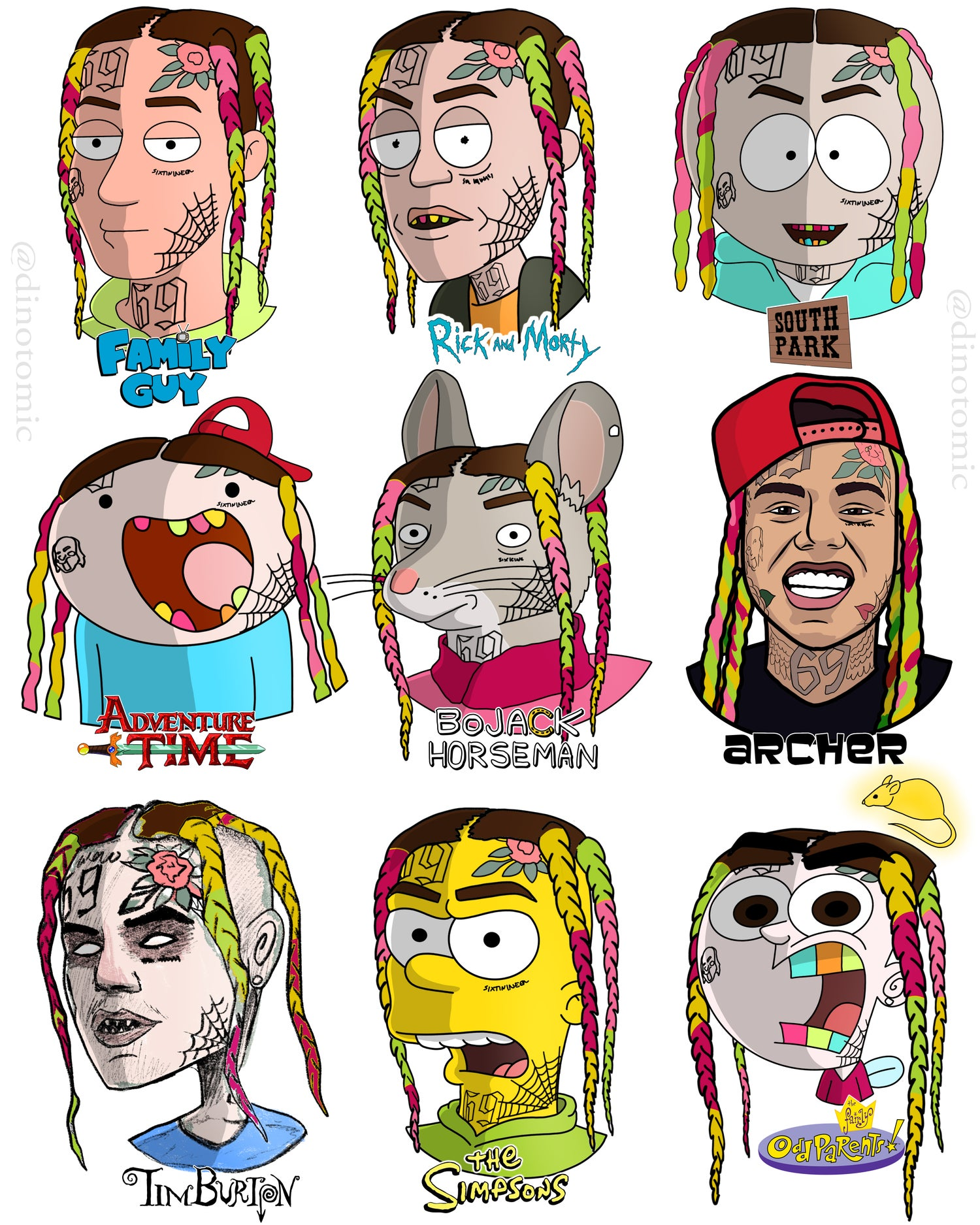Image of #222 69Tekashi drawn in 9 styles