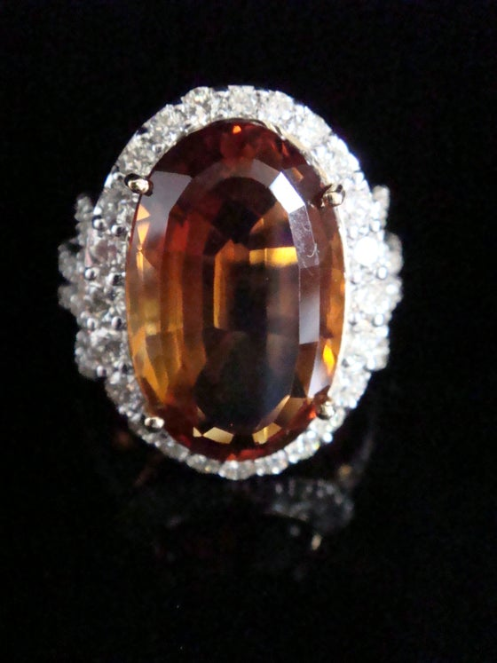 Image of Stunning 18ct large natural citrine 10.19ct and diamond 1.37ct cocktail cluster ring