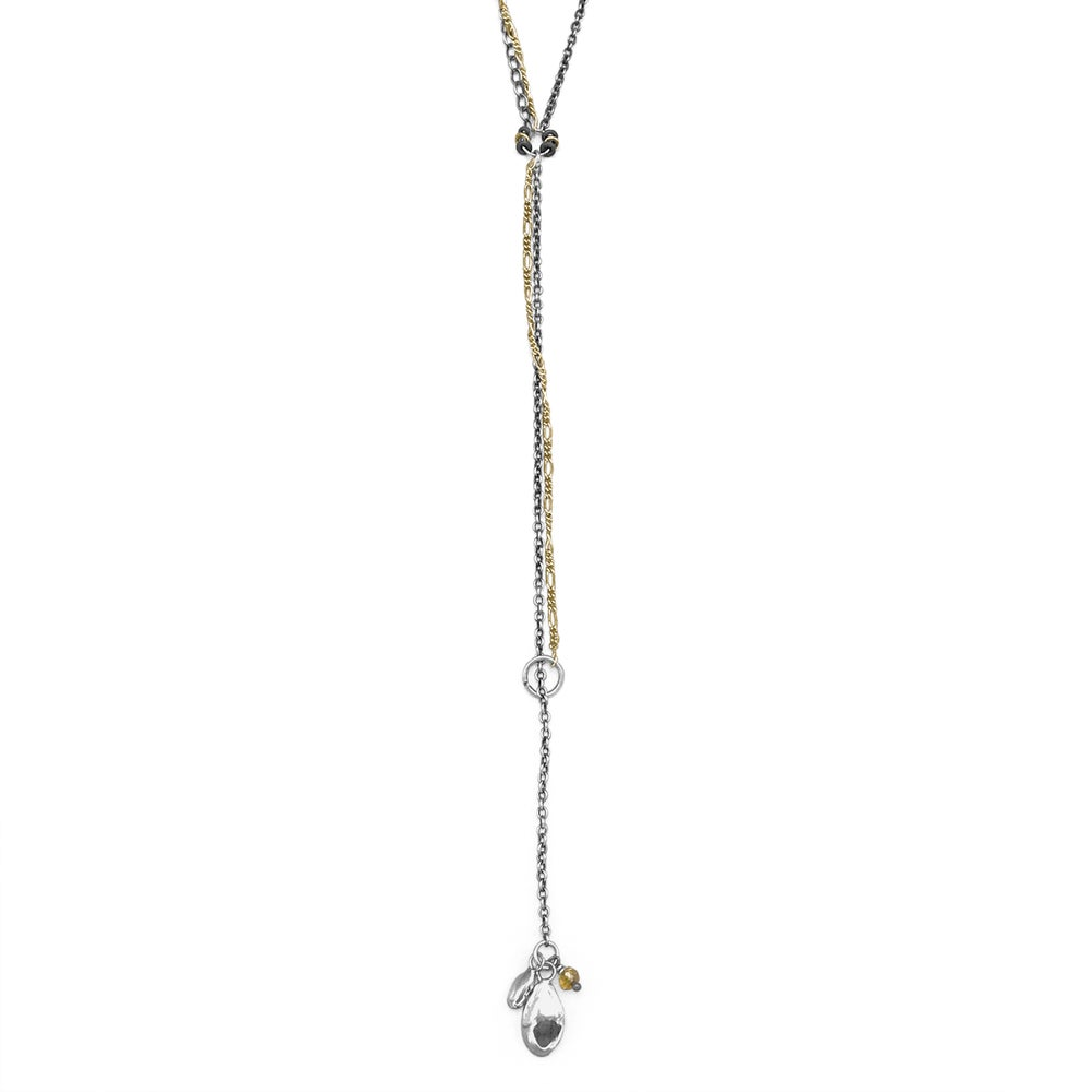Image of Seeds & Bead Silver & Gold Mixed-Chain Lariat Necklace