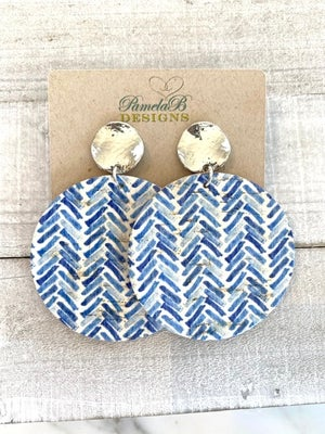 Blue Summer Cork Leather Earrings