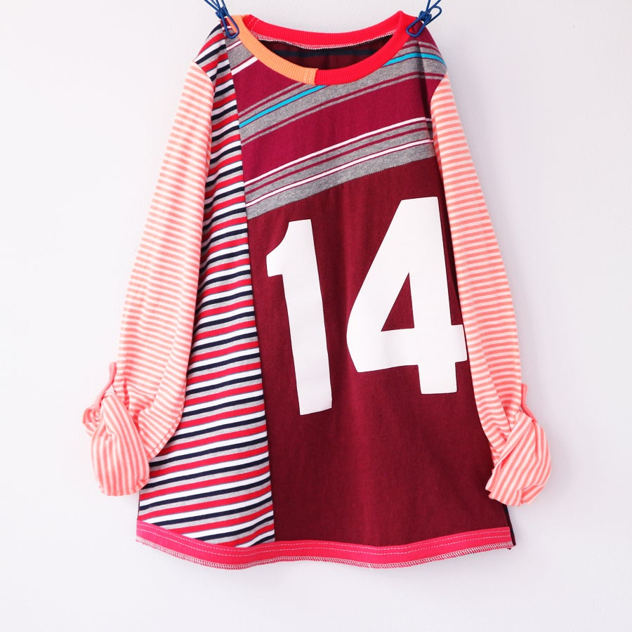 Image of this is fourteen long sleeve size 14 14th teen sleeveless teenager birthday bday top shirt