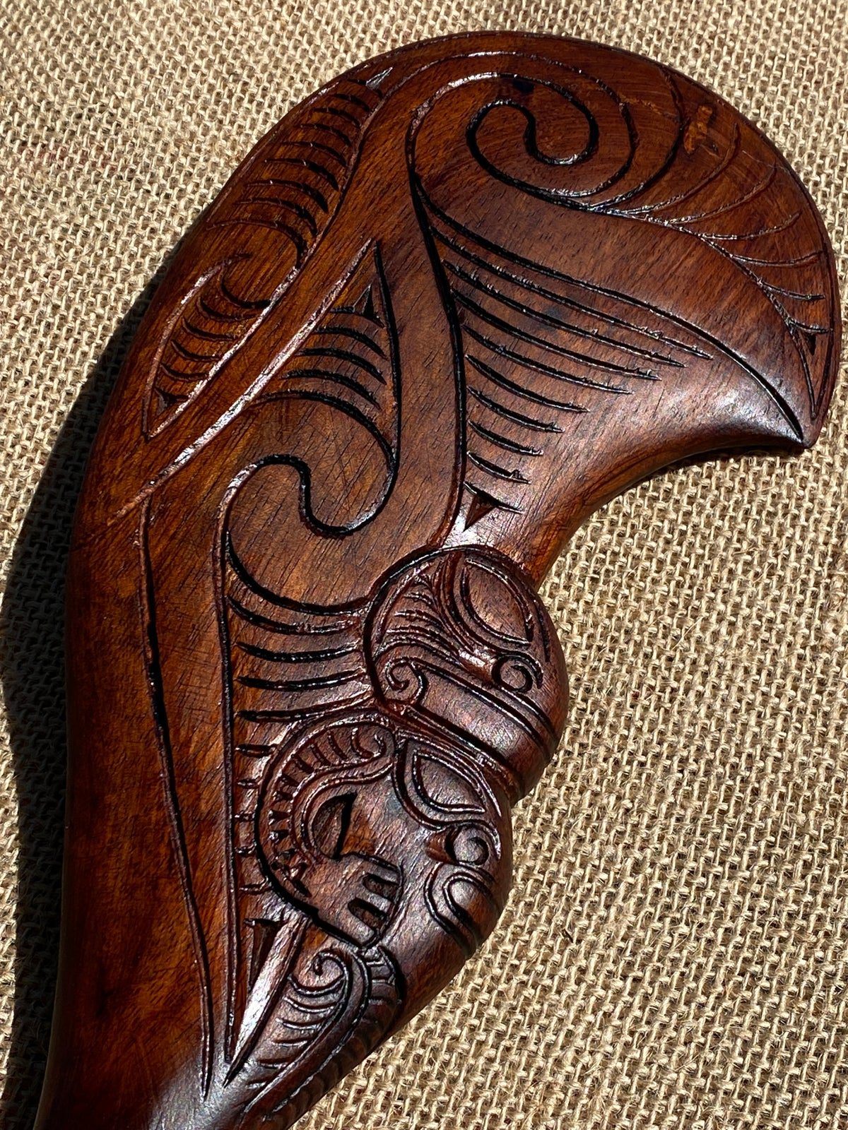 Image of Hand Carved Maori Wahaika Wooden Club