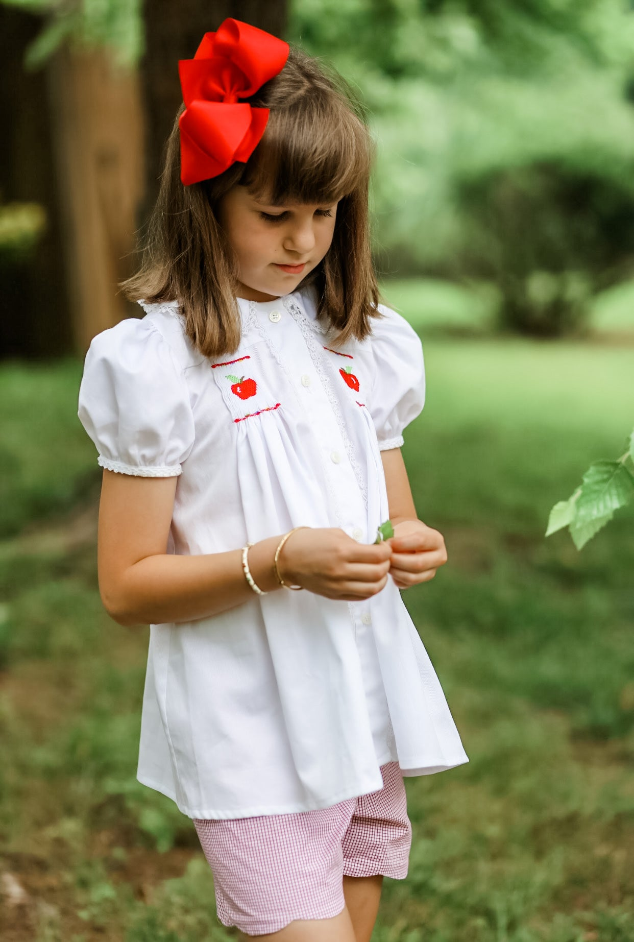 Image of Back To School Hand Smocked Apple Collection