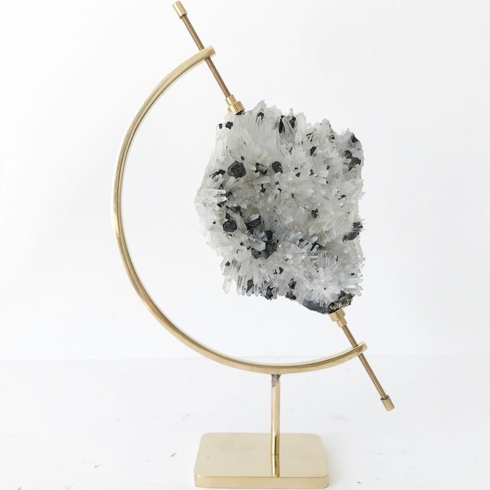 Image of Quartz/Pyrite no.15 + Brass Arc Stand