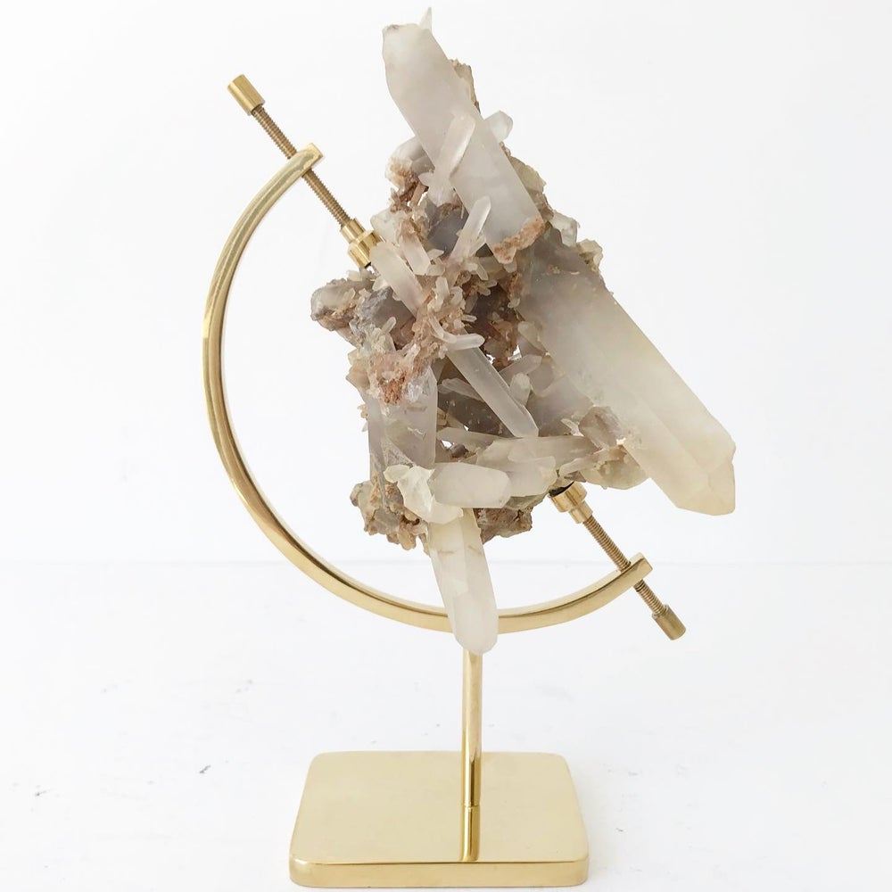 Image of Quartz no.96 + Brass Arc Stand