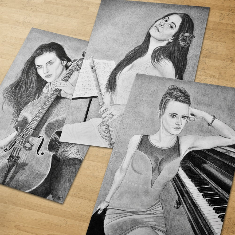 "Image of ""Women and Instruments"" 3 pc Art Print Collection - 11""x17"" Prints"
