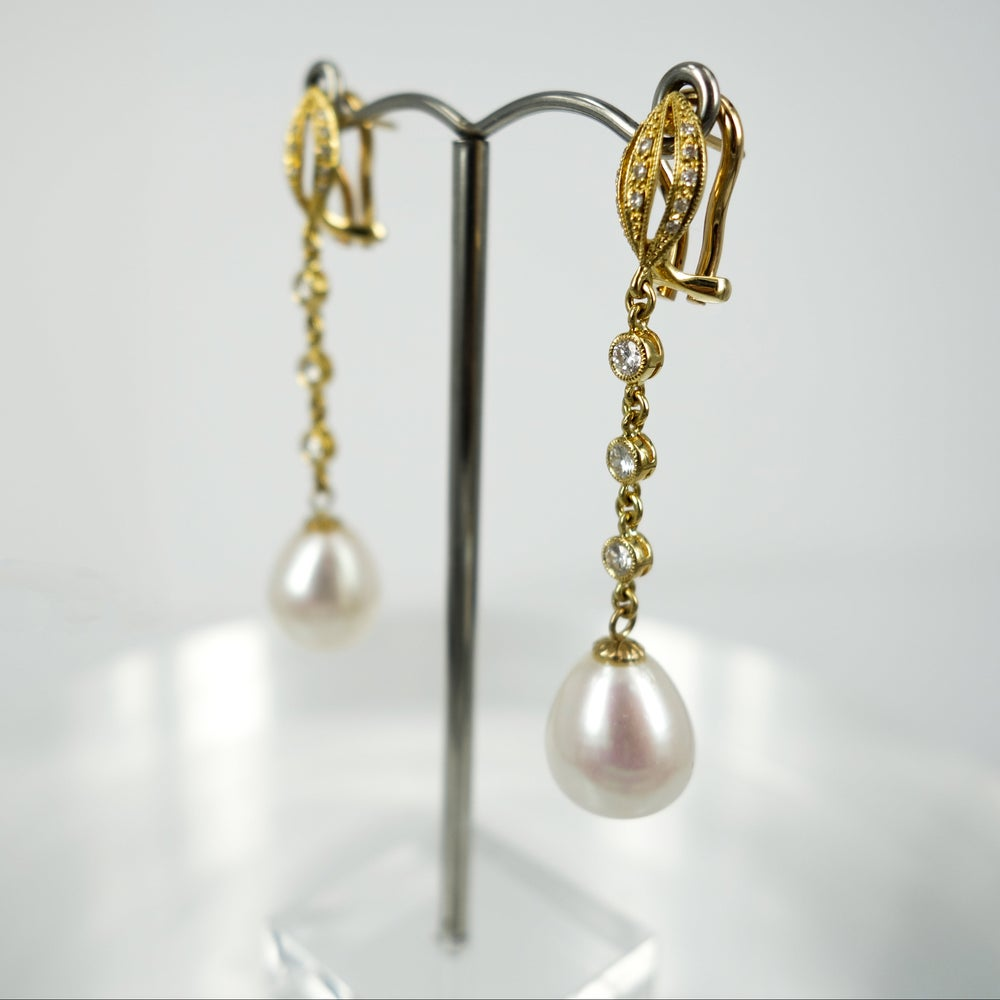 Image of PJ4360A - 18ct yellow gold diamond and pearl drop earrings