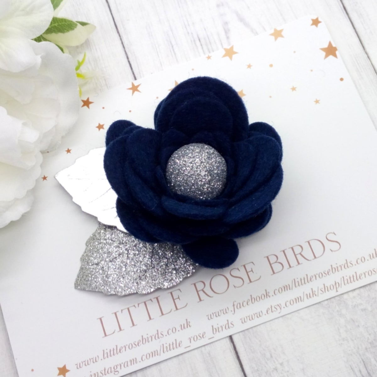 Image of Navy Flower Bloom - Choice of Gold / Silver or White Leaves