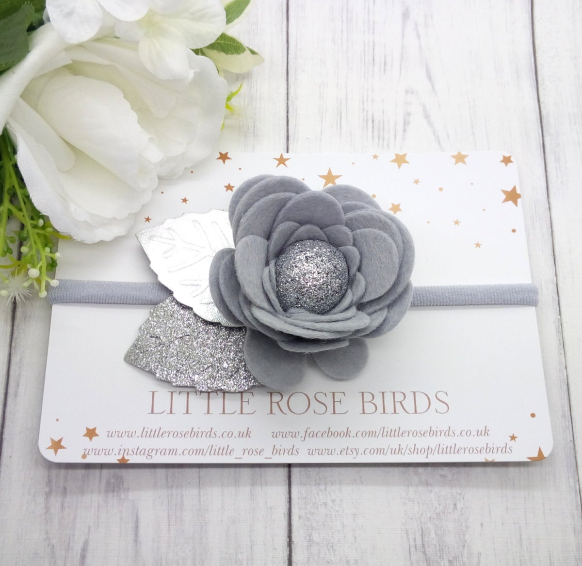 Image of Silver Flower Bloom - Choice of Gold / Silver or White leaves