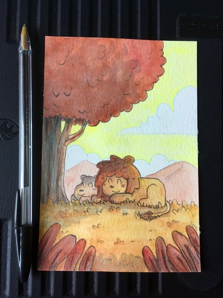 Image of Sleeping lions - A6 original