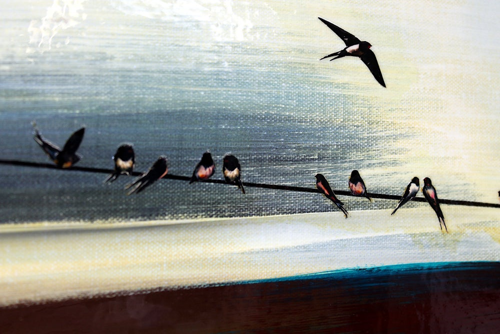 Image of Original Canvas - Swallows - 30cm x 30cm