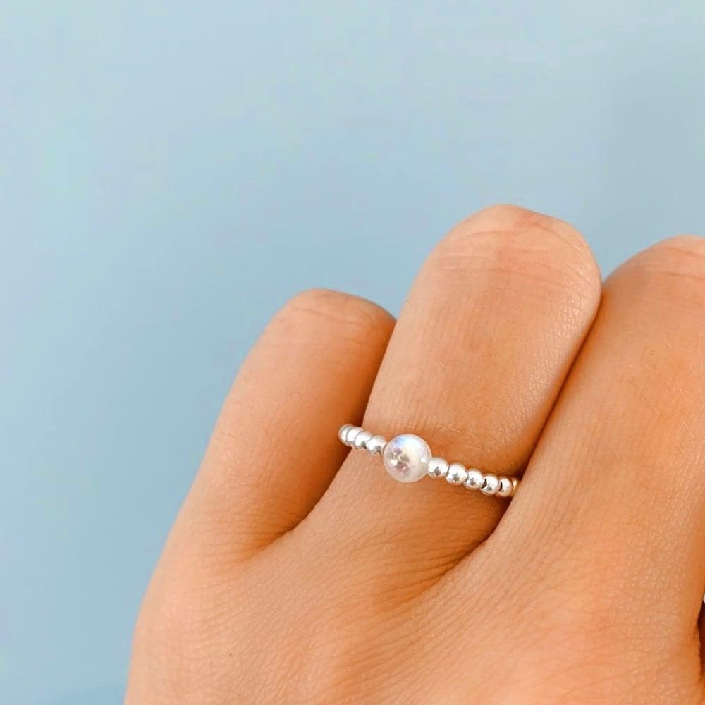 Image of Sterling Silver & Moonstone Gem Ring