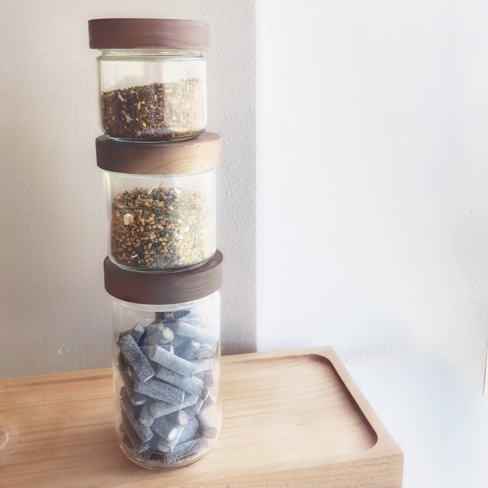 Image of Stout Stackable Jars with Walnut Lids