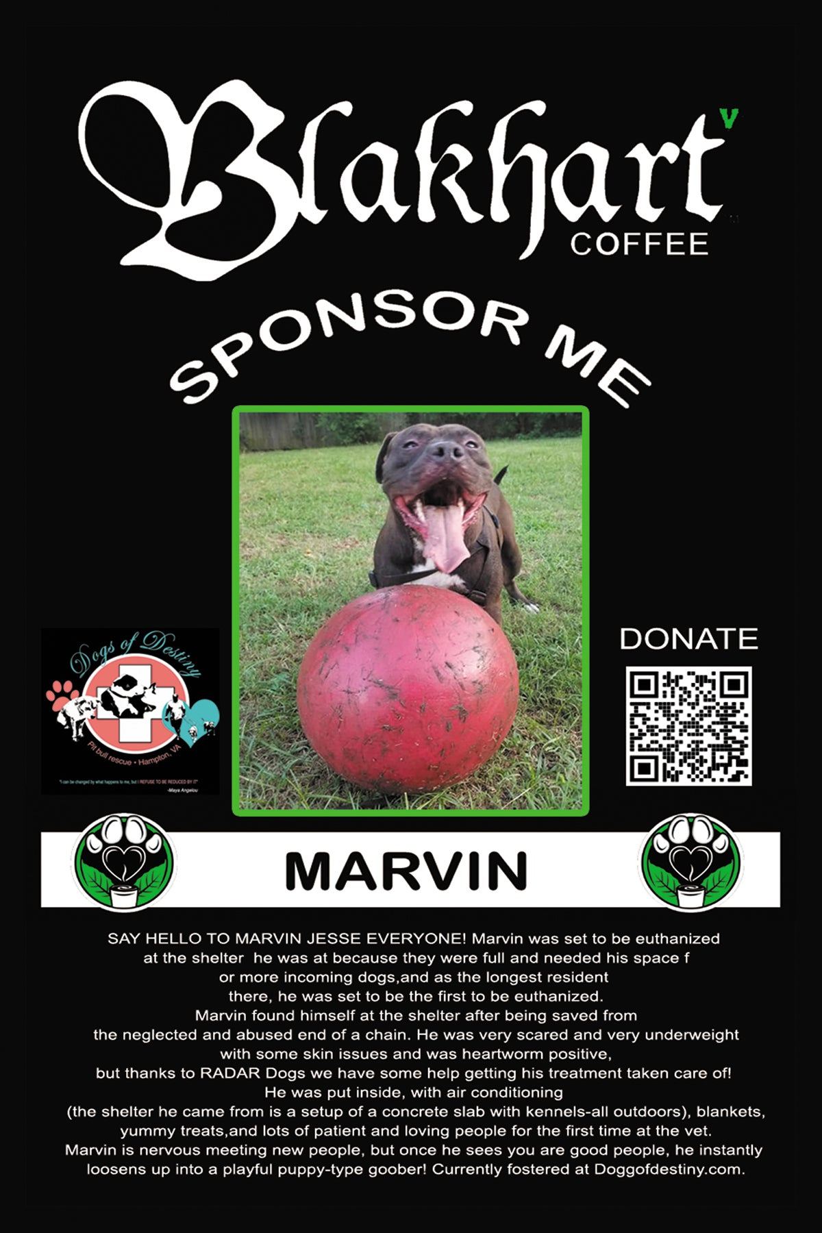 "Image of ""DOGS OF DESTINY"" DARK ROAST GROUND COFFEE & SPONSORSHIP"