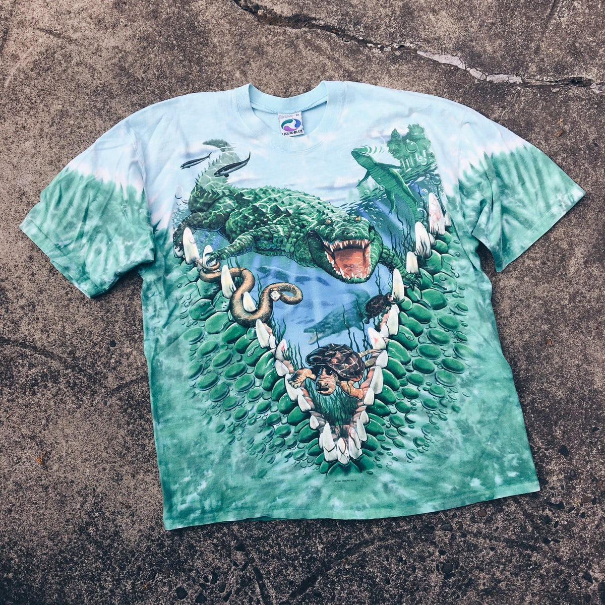 Image of Original 1998 Liquid Blue Alligator Tee.