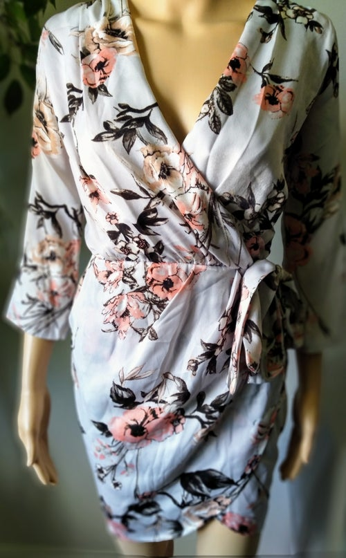 Image of GRAY SATIN FLORAL PRINT DRESS