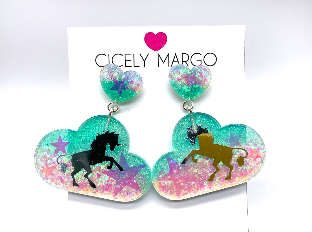 Image of Cloud Unicorn Statement Earrings