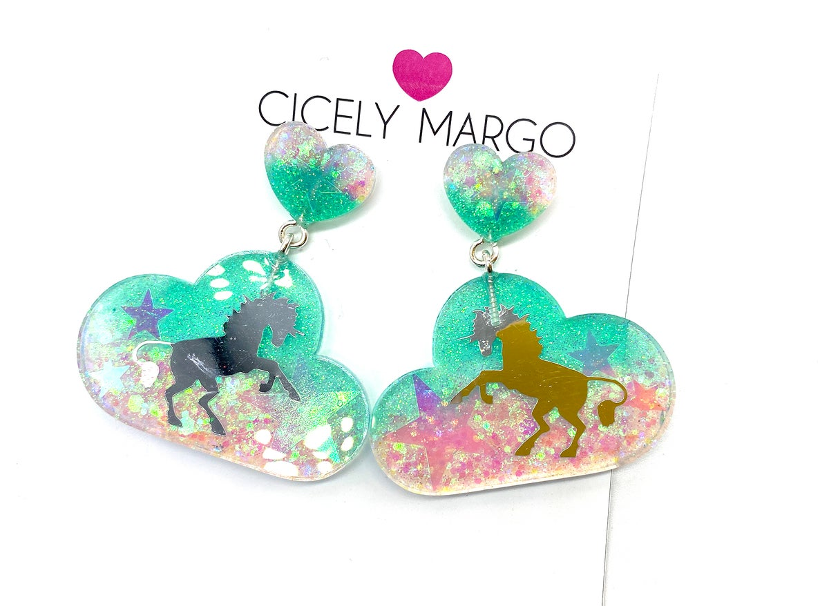 Image of Cloud Unicorn Statement Earrings