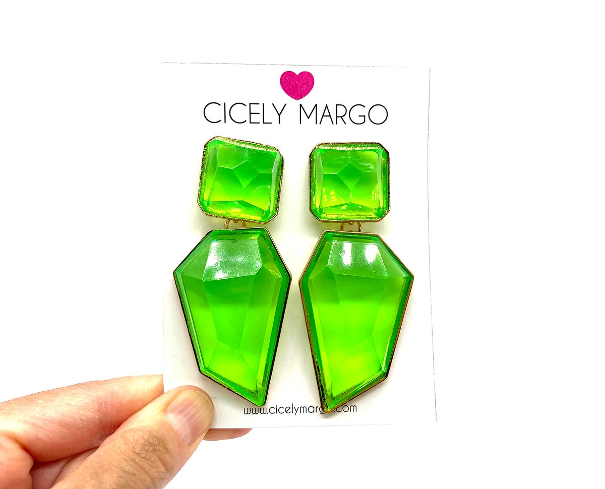 Image of Candy Geo Statement Earrings Neon Lime