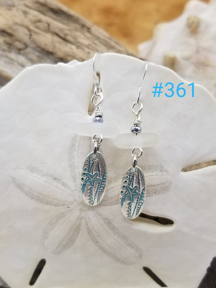 Image of Recycled Fine Silver- Sea Glass- Handmade- Earrings- #361