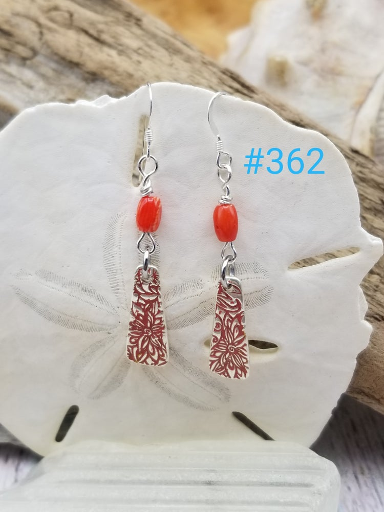Image of Recycled Fine Silver- Coral- Handmade- Earrings- #362