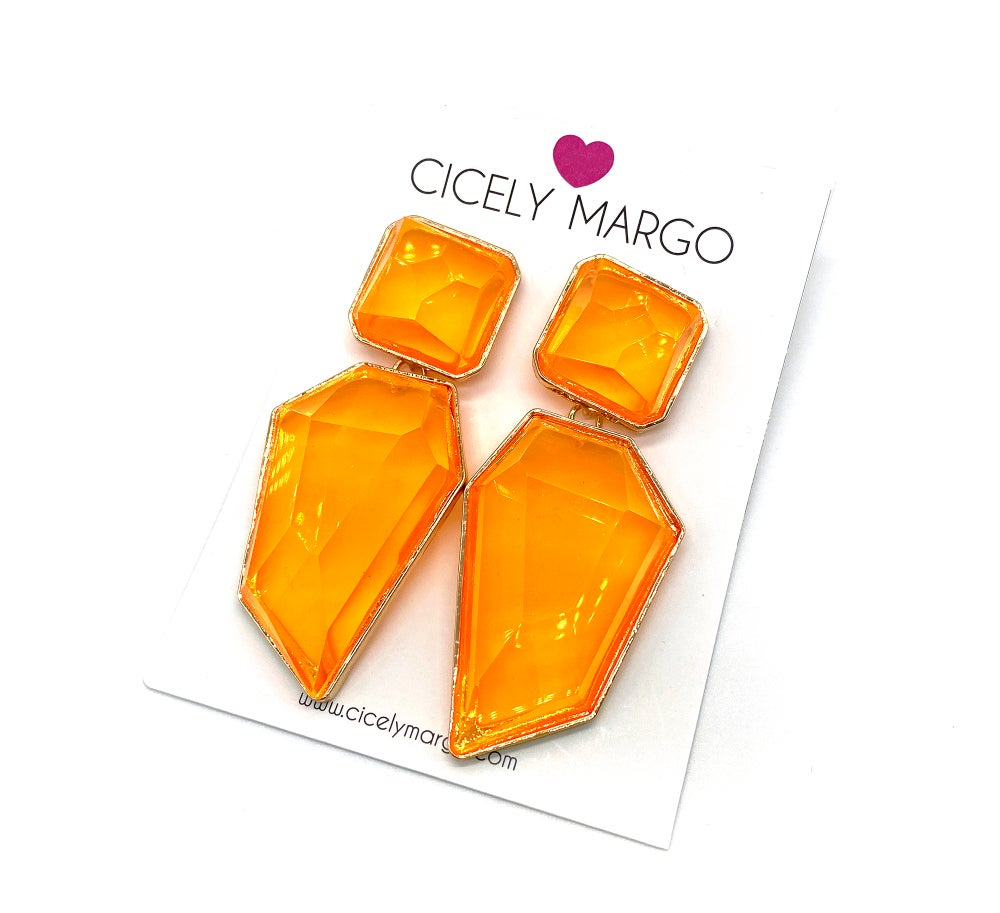 Image of Candy Geo Statement Earrings Neon Orange