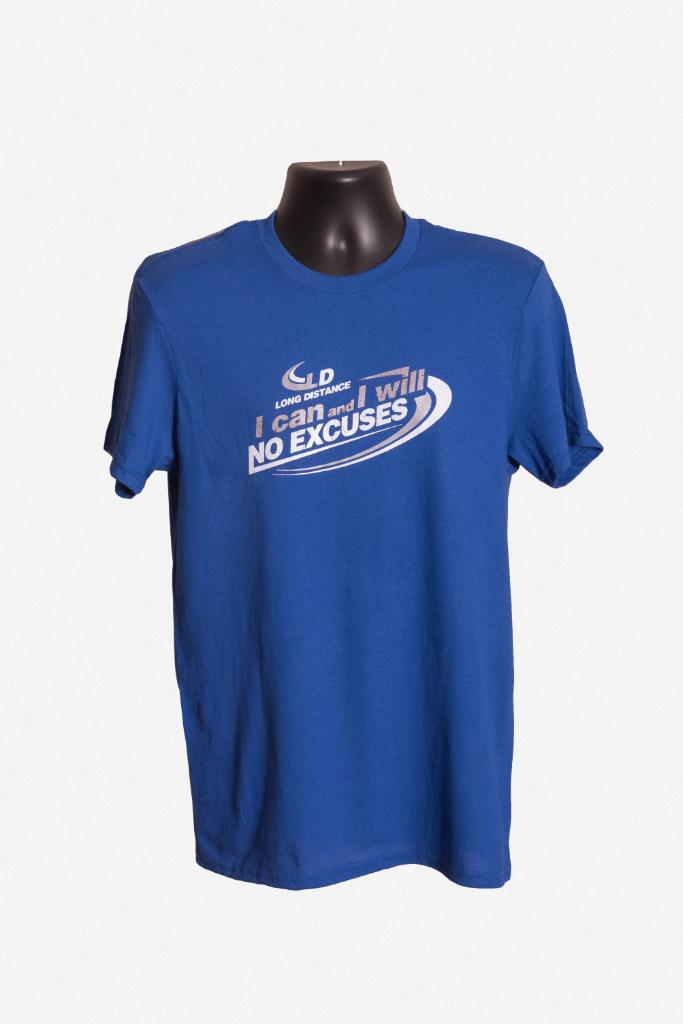 """Image of Blue """"No excuses"""" T-shirt"""