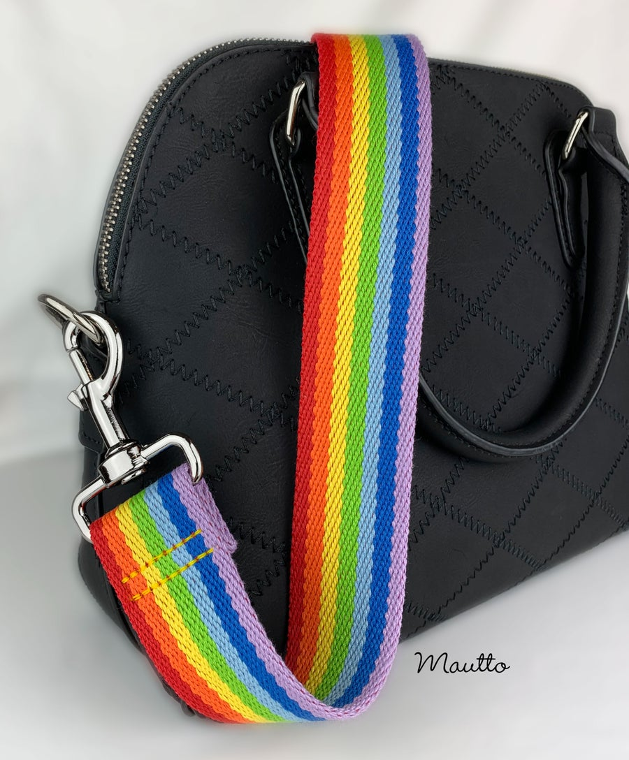 "Image of Rainbow Strap for Bags - 1.5"" Wide - Adjustable Crossbody Length - Cotton Canvas - Style #19 Clips"