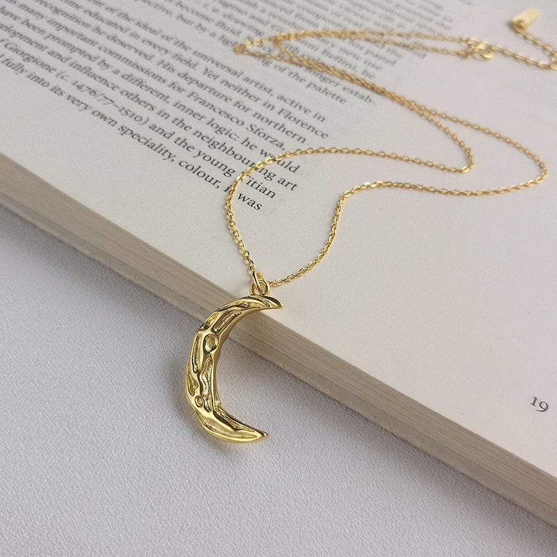 Moonage Daydream Necklace (Elegant Textured Gold Moon)