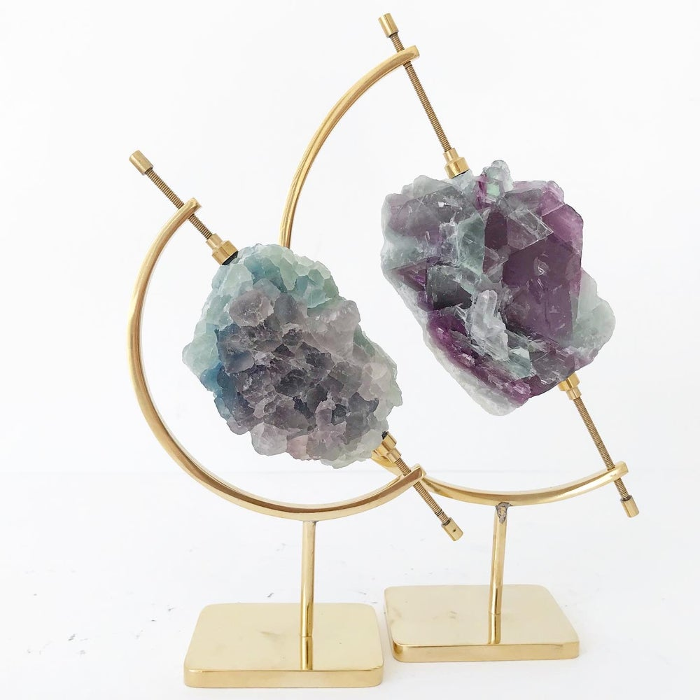 Image of Tricolor Fluorite no.05 + Brass Arc Stand