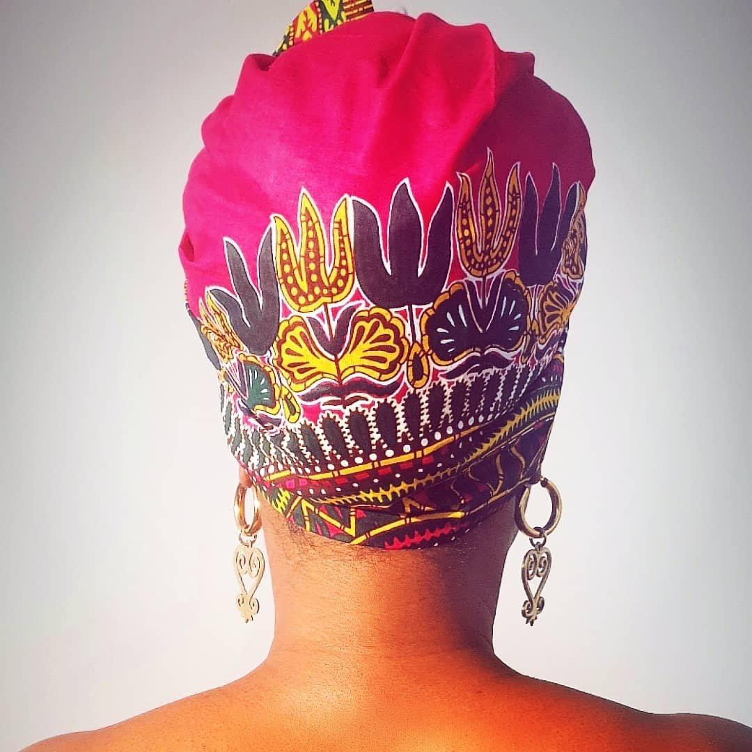 Image of Pink Dashiki Headwrap