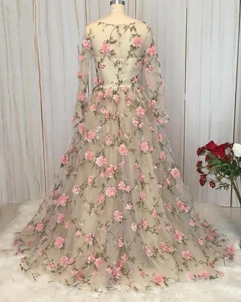 Gorgeous Flowers Long Sleeves Tulle Evening Dress, V-neckline Wedding Party Dress