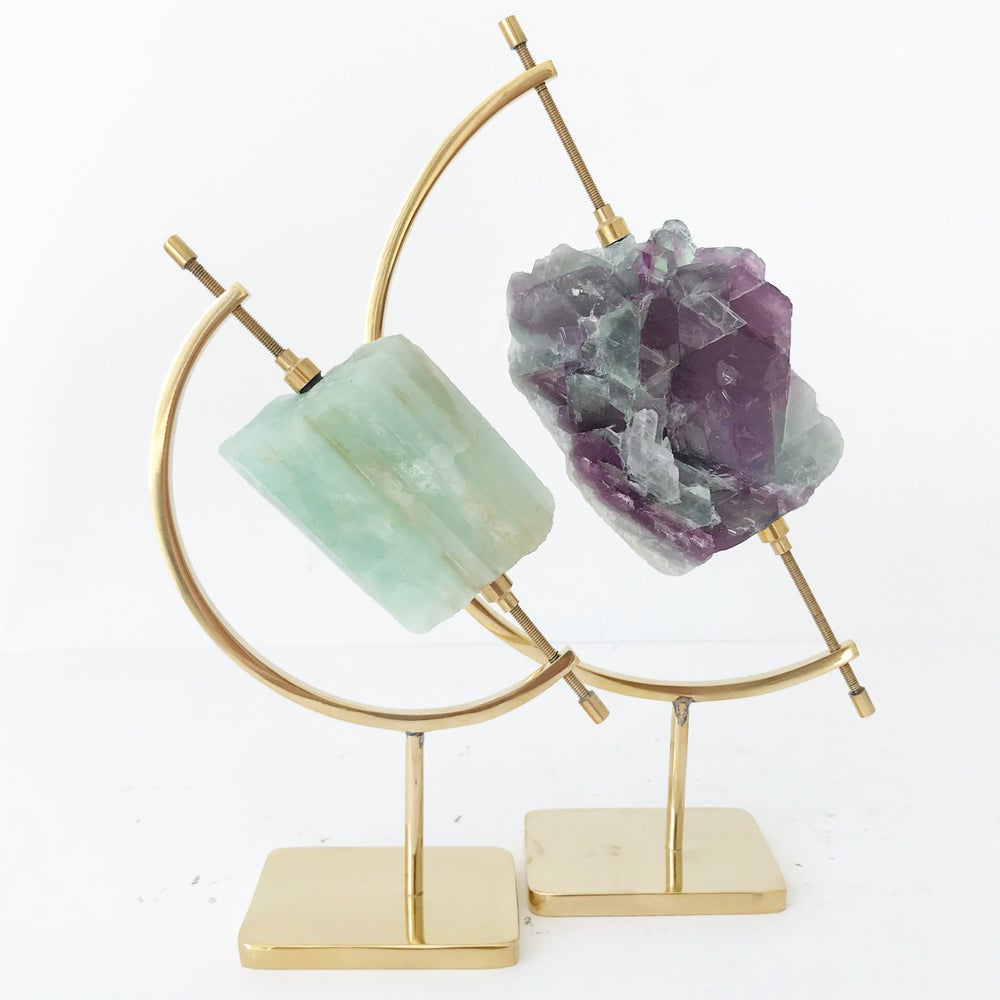 Image of Aquamarine no.25 + Brass Arc Stand