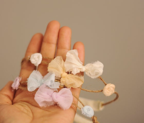 Image of Two bows and flowers headband ( white peach)
