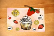 "Image of ""Happy Birthday"" card with Strawberry brooch"