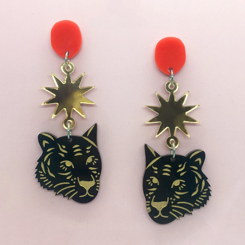 Image of Tiger Face Triple Drops (Black/Gold/70s Red)