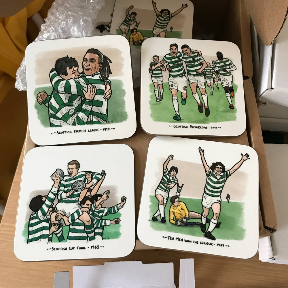 MADE TO ORDER: 'WINNERS COLLECTION' CELTIC FC COASTER SET