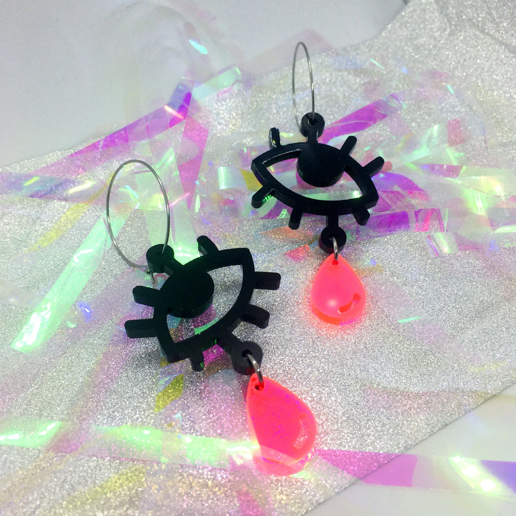 Image of Cry Baby Hoops (Black/Neon Pink)