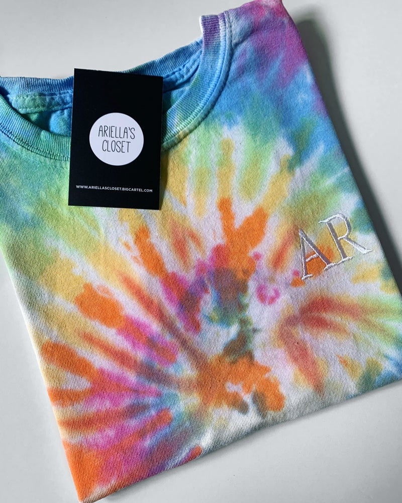 Image of Tie Dye Embroidered Initials T-shirt