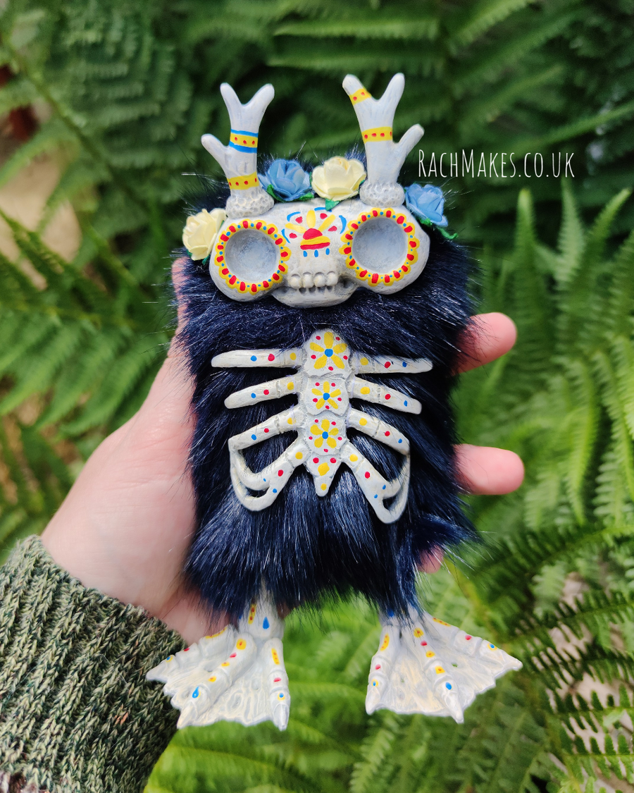 Image of Dia de Muertos Skellie - Midnight blue