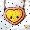 Kawaii Pizza Heart Wooden Necklace