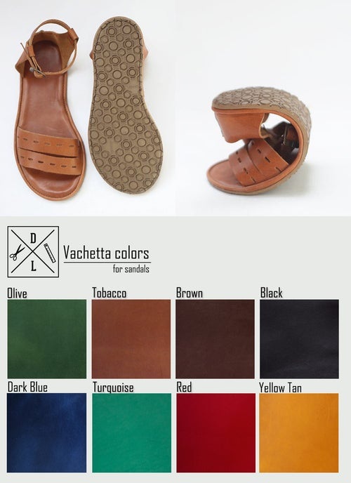 Image of Sandals - Cut Here in Tobacco Brown