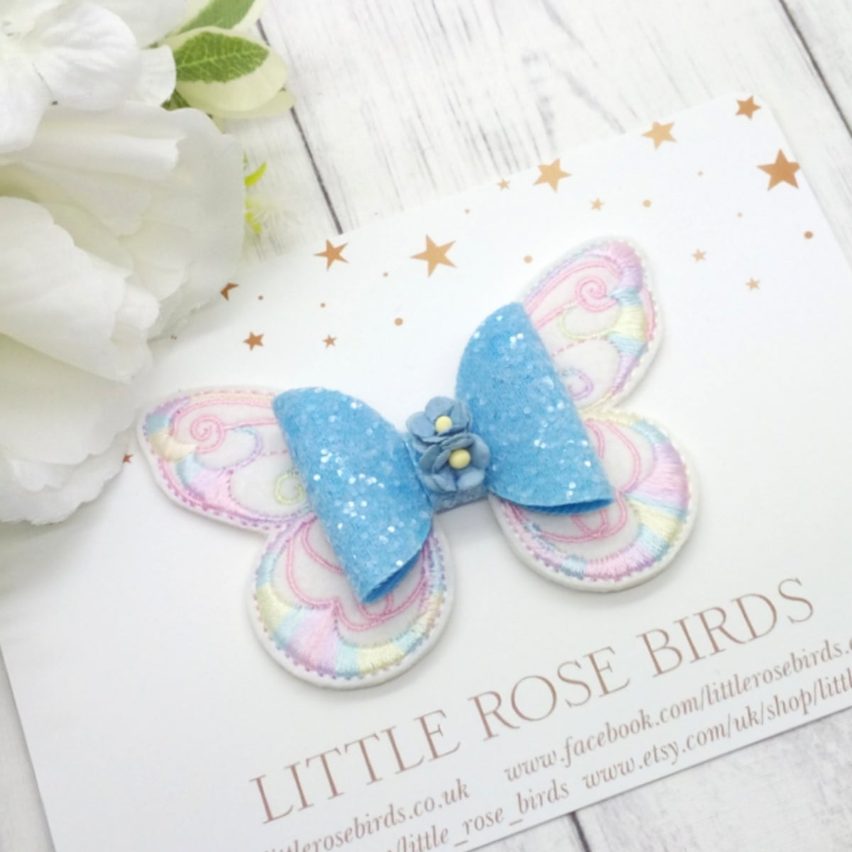 Image of Blue Pastel Butterfly Bow