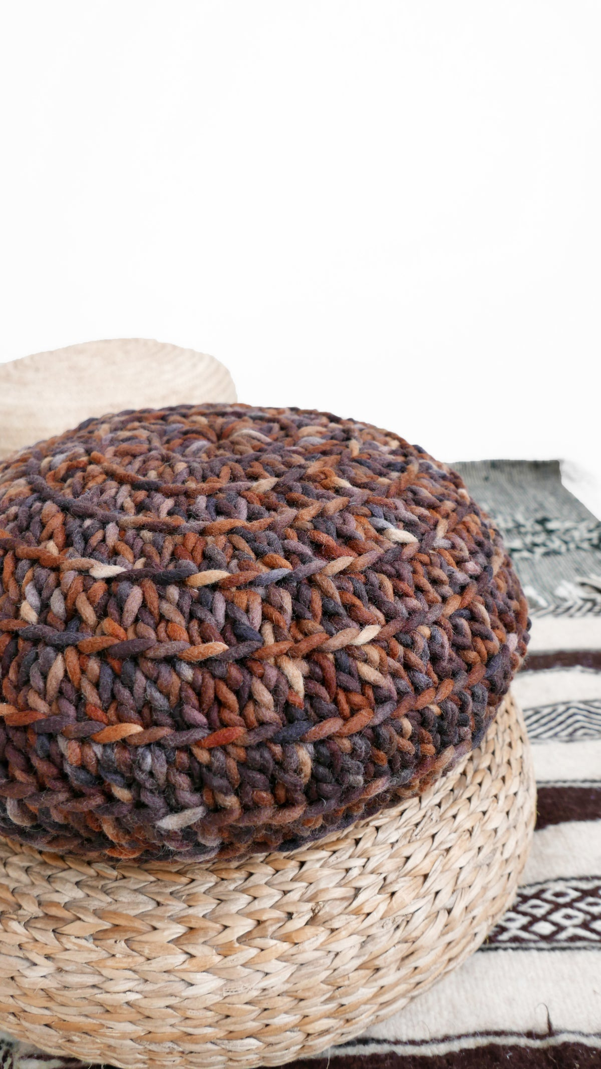 Image of Crochet Floor Cushion thick wool - Brown Tones