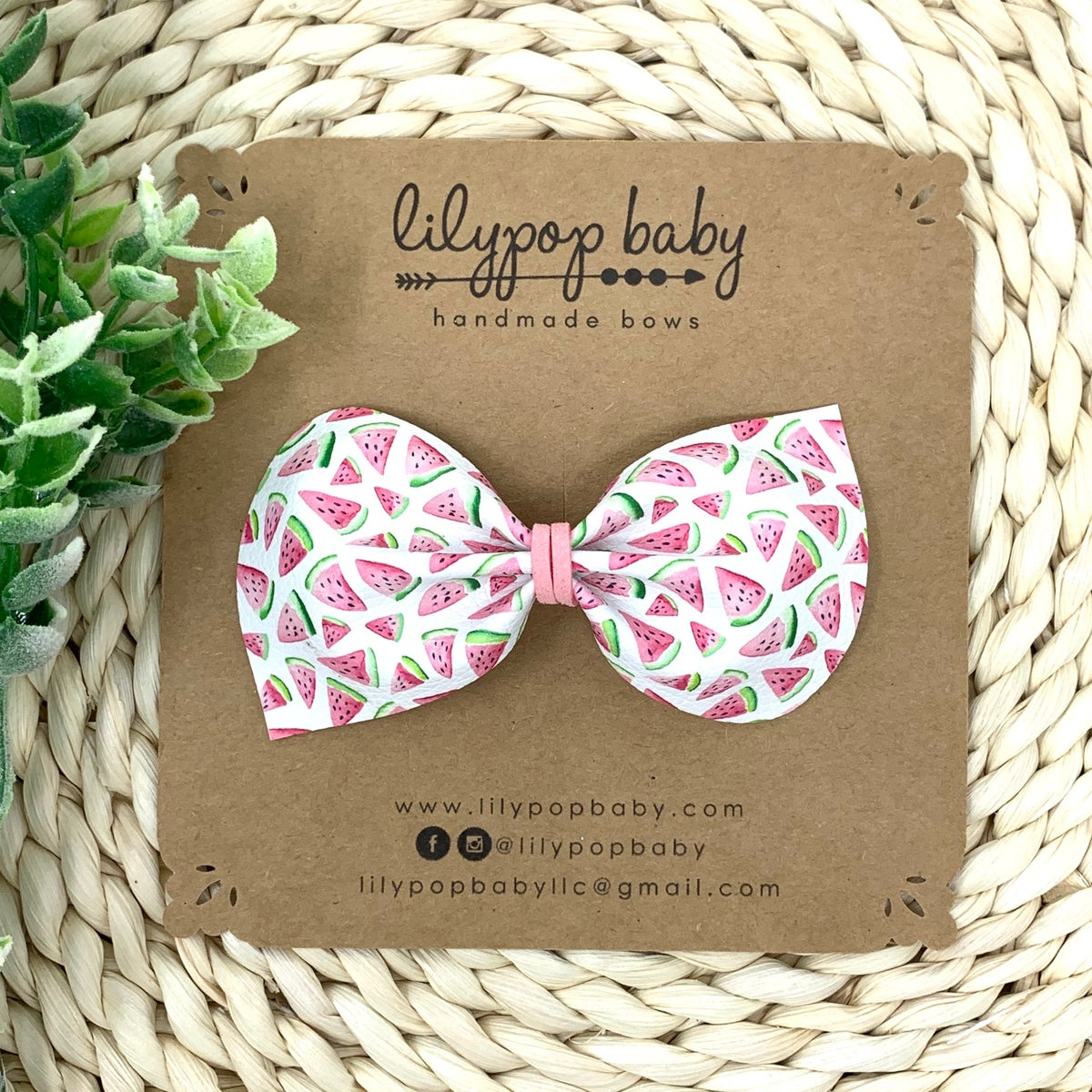 Image of Watermelon Slices Faux Leather Bow