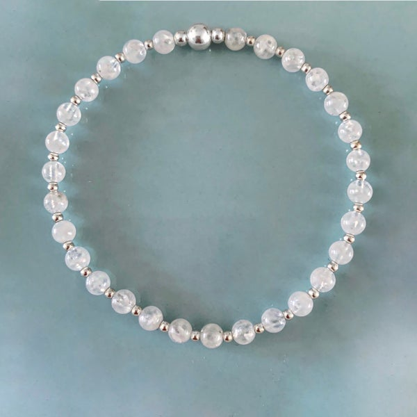 Image of Sterling Silver & Moonstone Bead Bracelet