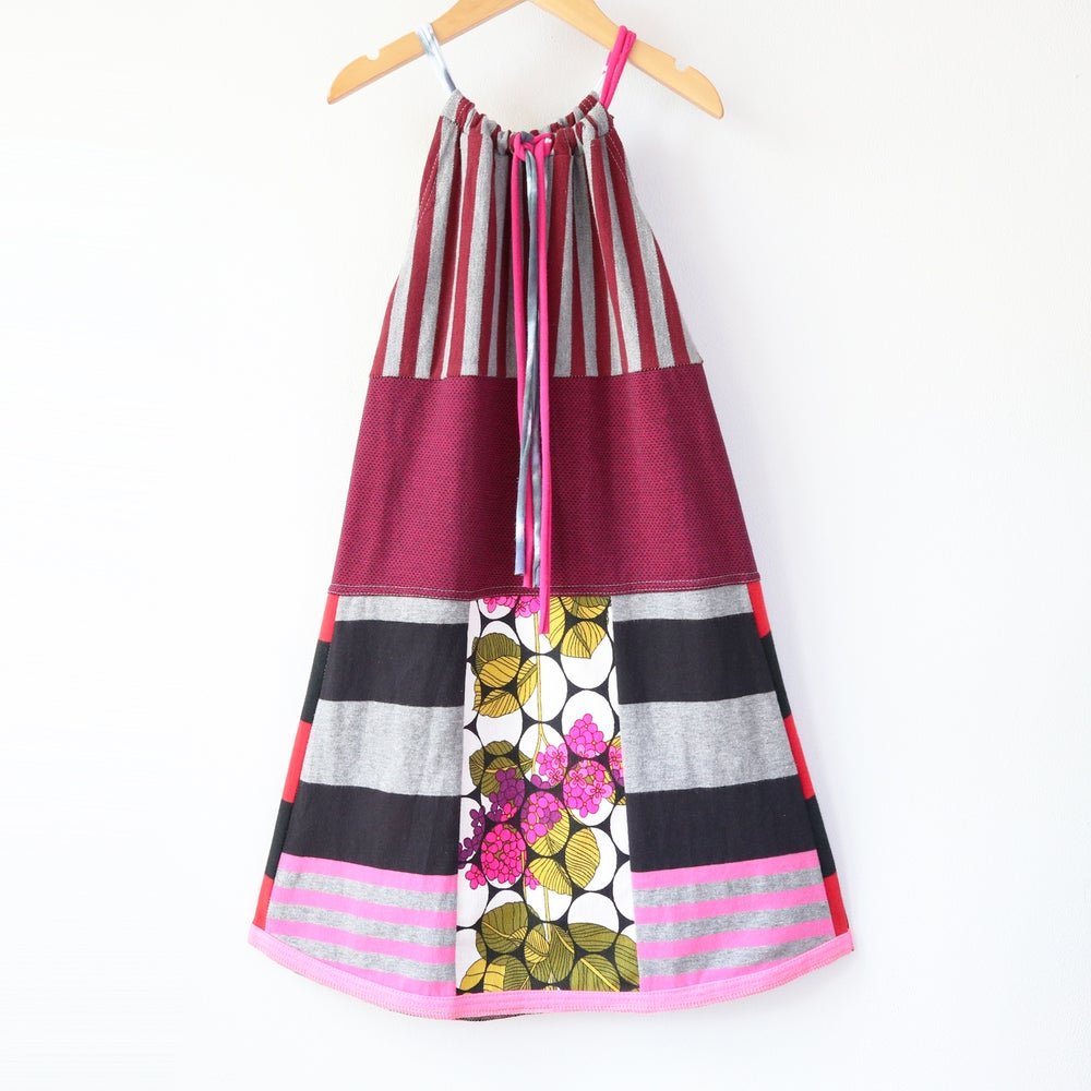 Image of stripes red magenta pink stripe vintage fabric textiles 8/10 tie drawstring sundress dress courtney